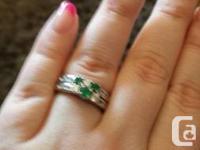 Both Rings are 14kt. White gold.  Alternating Diamond