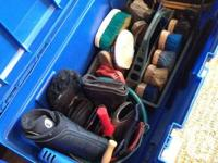 We have 3 bins of English horse tack & apparel waiting, used for sale  Ontario