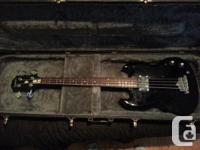 """Classic """"SG"""" Style body Bass Guitar Black Body and pick"""