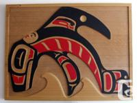 "Original Norman Tait Red Cedar ""Fantastic Whale with"