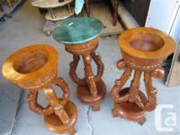 THESE 3 MATCHING HAND CARVED WOODEN STANDS ARE