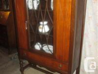 "THIS WALNUT CHINA CLOSET IS 36"" WIDE, 15"" DEEP & & 60"