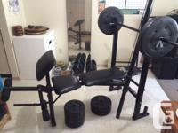 Adjustable incline/recline weight bench including: -
