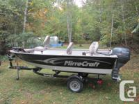 mirror- craft 148 troller. features yamaha 25 hp 4