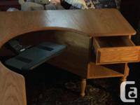 """Solid oak top,pullout keyboard tray.64""""x64"""".can bein a"""