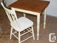 Farmhouse Pine Table ..restored top on painted base