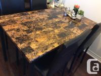 "Brown fashionable-look metal top dinning table (30"" x"