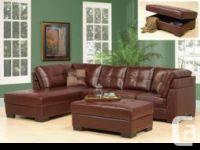Faux Leather Sectional with Storage Ottoman