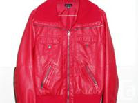 Intense red bomber jacket.faux natural leather, in