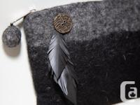 Felt handmade purse with upcycled leather feathers and