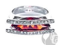 FERI Garnet CZ Ring  - .925 fine sterling silver - 0.1