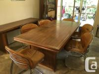 Swiss Walnut Table and side with Retro chairs -