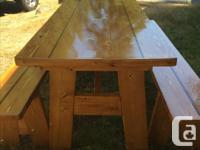 New 6 feet picnic table stained and spar varnished.