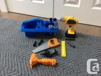Fisher Price construction tools set. Drill, drill bits,