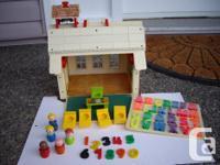 vintage school house with teacher, 4 pupils, 5 desks, 1
