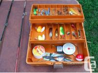 For sale are 3 kids fishing rods and a tackle box with