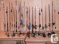 FISHING RODS + REELS (NEW) -- (starting at $15)
