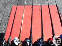 For sale are a number of rods & reels, 4 nets and a