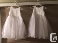 White flower girl dress with tulle. Size 6. Never worn.