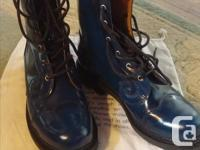 Gorgeous patent leather blue mid-calf boots in