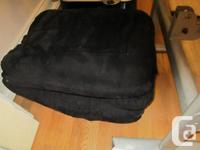 *Fun black suede chair, good condition, it folds and