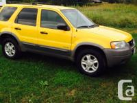 Make. Ford. Model. Escape. Year. 2002. Colour. Canary
