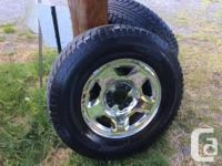 Ford chrome rims ,,,with winter tires ,,95% tread left
