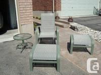 Four Piece Outdoor patio Chair w / Footstool and Small