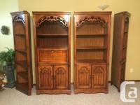 Used, A four piece shelved wall unit including two end curio for sale  Alberta