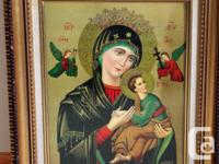 This is a vintage framed print of the Virgin Mary with
