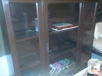 Bookcase-solid wood-wood framed glass shelves Measures
