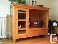 "Pine cupboard will match 32"" level screen TELEVISION,"