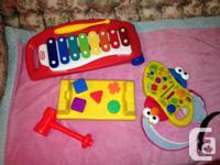 Xylophone, tool set, cookie monster and see n say comes