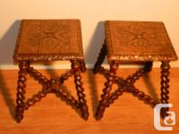 Pair of carved stools, oak, France, 1890. $60 each
