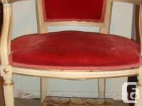 French red velvet chair very good condition 50.00