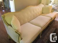 Vintage French country sofa. 88inches long by 32inches
