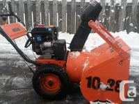 "Older snowblower with new motor in Feb. 7 Hp 28"" cut."