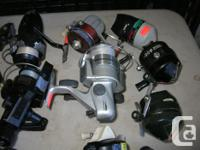 FRESHWATER FISHING REELS WITH SOME VINTAGE REELS.