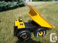 "Pal L Pressed Steel & Plastic Dump Truck 17"" Long"