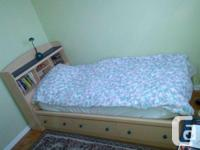 Great single bedroom set with blue accents for sale -