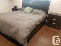 Bed,end tables,dresser,mirror and box spring and