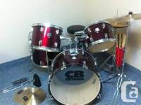 Full size 5 piece drum set. Bought this used almost 2