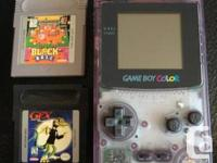 Game Boy Color in transparent purple. Fully functional,