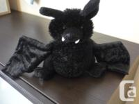 "Ganz Webkinz Black Bat 12"" Plush Stuffed Poseable"