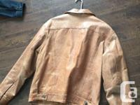 Beautiful Gap leather jacket, size large. Jean jacket