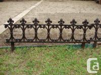 "Nine cast iron garden pieces. 33""L 10""H without ground"