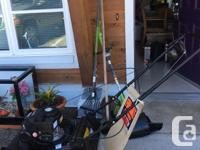 Gas lawn-mower plus rake, hoe and weedeater. Lawn more