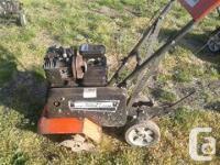 Gas Rototiller, Front tine. Older machine, not pretty,