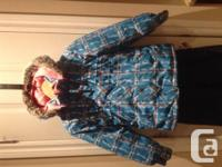 Gently used Girls Osh Kosh Snow Suit Size 7 Teal plaid