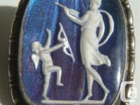 """Butterfly wing sulphide cameo"" Sterling silver pin"